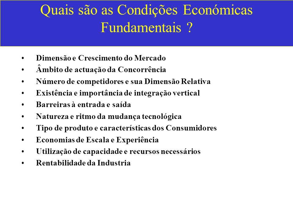 Quais são as Condições Económicas Fundamentais ? Dimensão e Crescimento do Mercado Âmbito de actuação da Concorrência Número de competidores e sua Dim