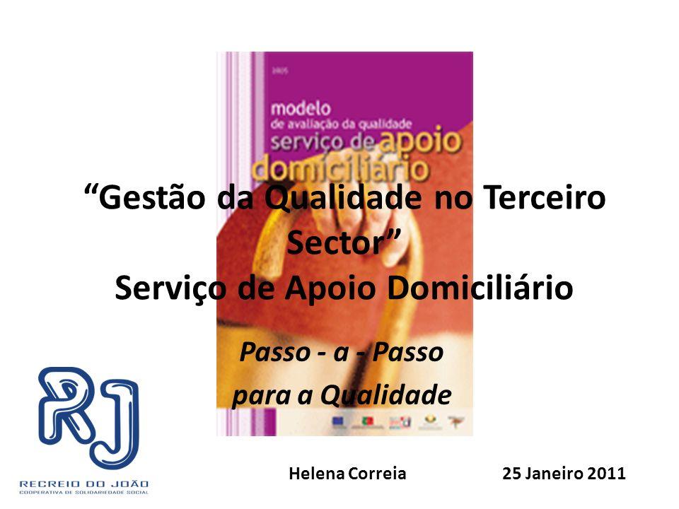 Gestão da Qualidade no Terceiro Sector Serviço de Apoio Domiciliário Passo - a - Passo para a Qualidade Helena Correia 25 Janeiro 2011
