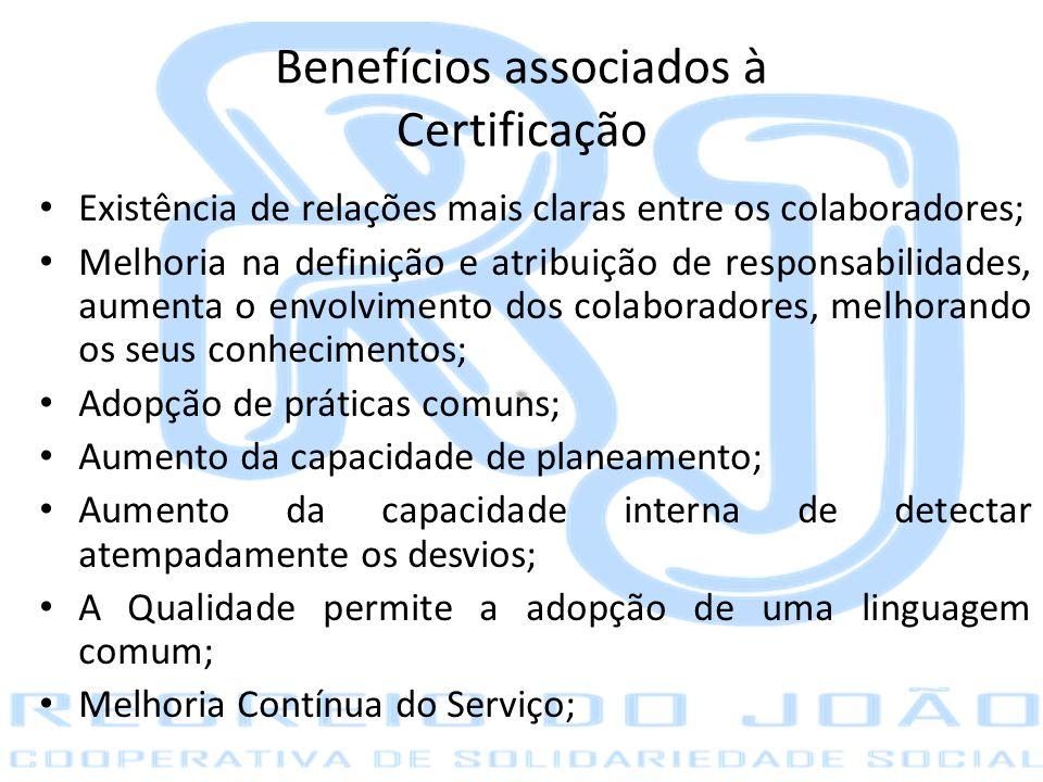 Benefícios associados à Certificação Existência de relações mais claras entre os colaboradores; Melhoria na definição e atribuição de responsabilidade
