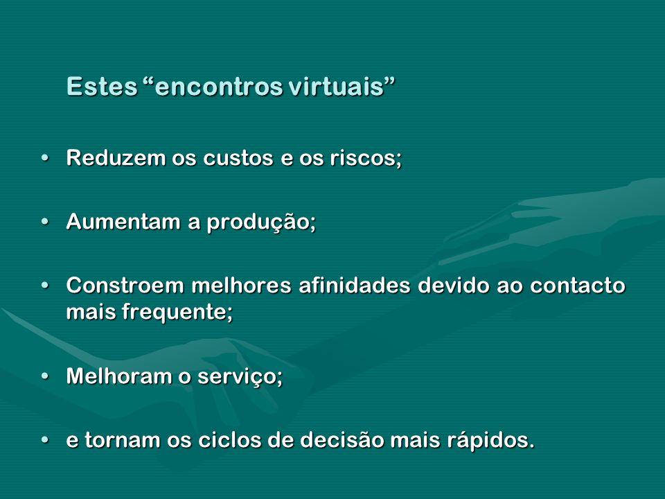 Estes encontros virtuais Reduzem os custos e os riscos;Reduzem os custos e os riscos; Aumentam a produção;Aumentam a produção; Constroem melhores afin