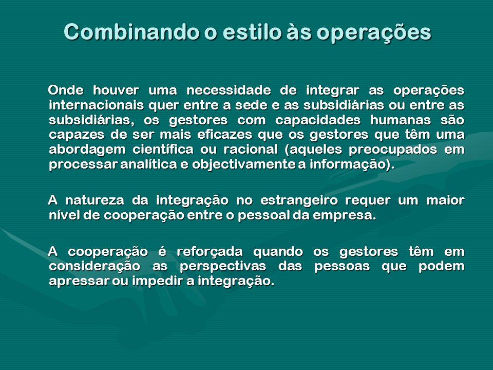 Combinando o estilo às operações Onde houver uma necessidade de integrar as operações internacionais quer entre a sede e as subsidiárias ou entre as s