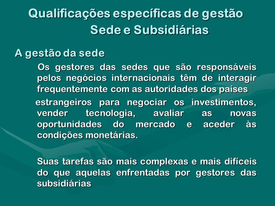 Qualificações específicas de gestão Sede e Subsidiárias A gestão da sede Os gestores das sedes que são responsáveis pelos negócios internacionais têm