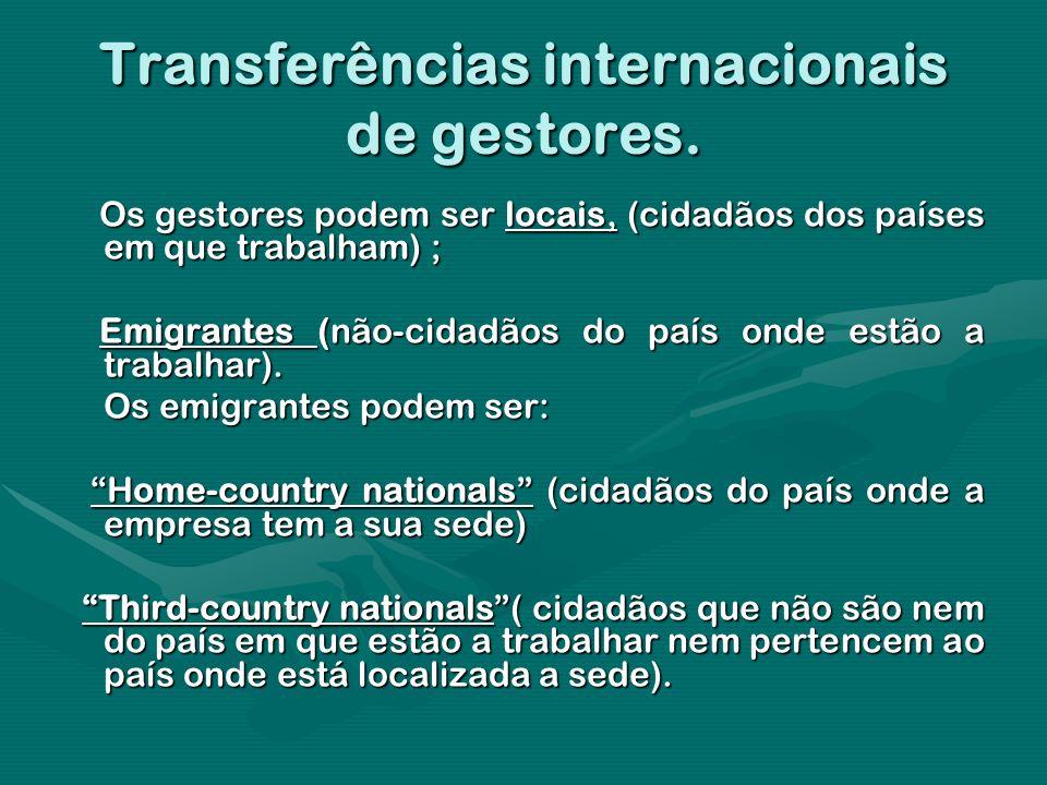 Transferências internacionais de gestores. Os gestores podem ser locais, (cidadãos dos países em que trabalham) ; Os gestores podem ser locais, (cidad