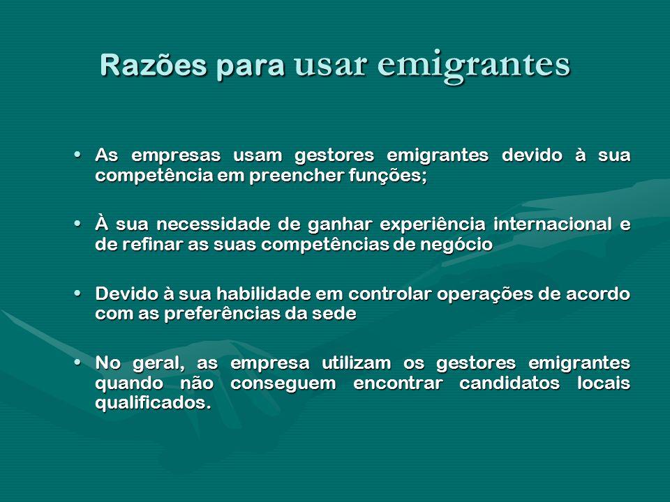 Razões para usar emigrantes As empresas usam gestores emigrantes devido à sua competência em preencher funções;As empresas usam gestores emigrantes de