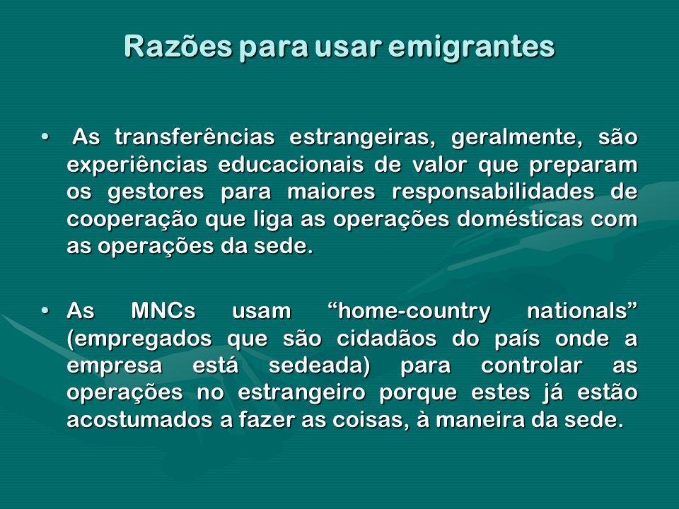 Razões para usar emigrantes As transferências estrangeiras, geralmente, são experiências educacionais de valor que preparam os gestores para maiores r