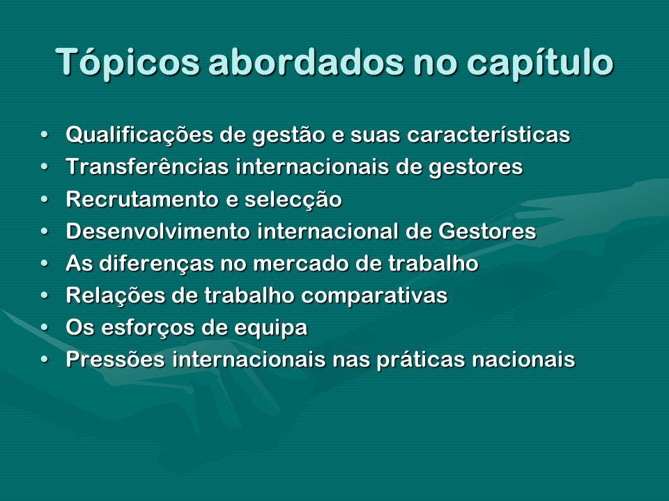 Tópicos abordados no capítulo Qualificações de gestão e suas característicasQualificações de gestão e suas características Transferências internaciona