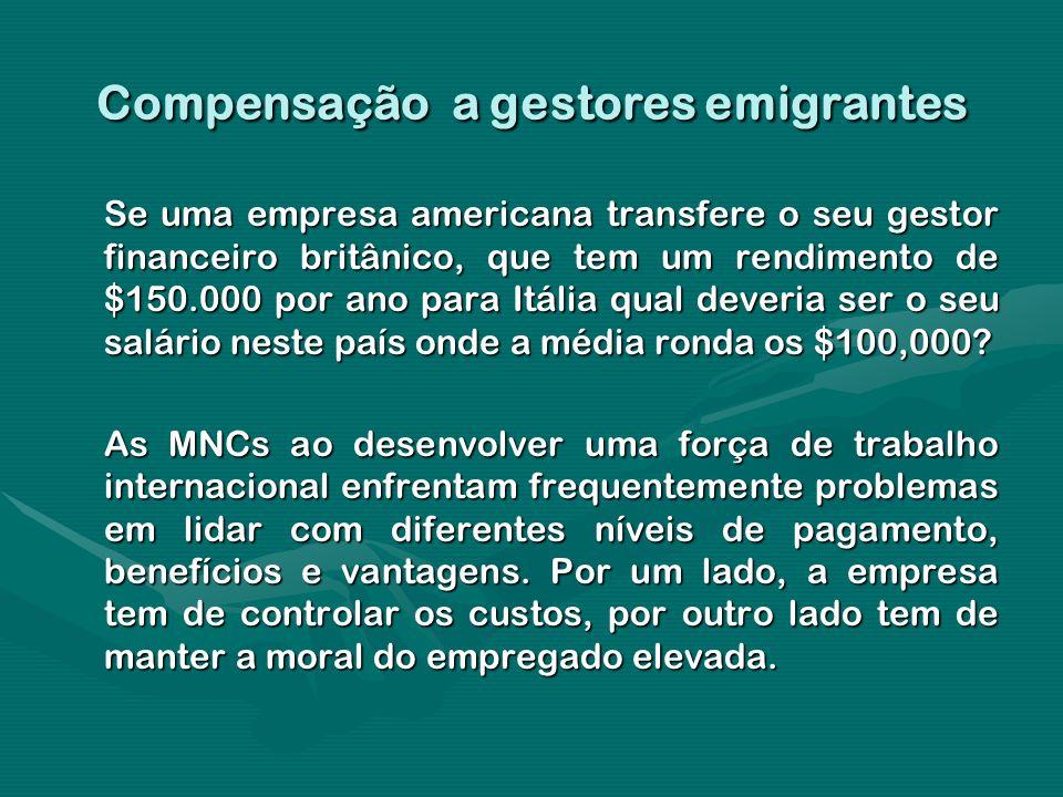 Compensação a gestores emigrantes Se uma empresa americana transfere o seu gestor financeiro britânico, que tem um rendimento de $150.000 por ano para