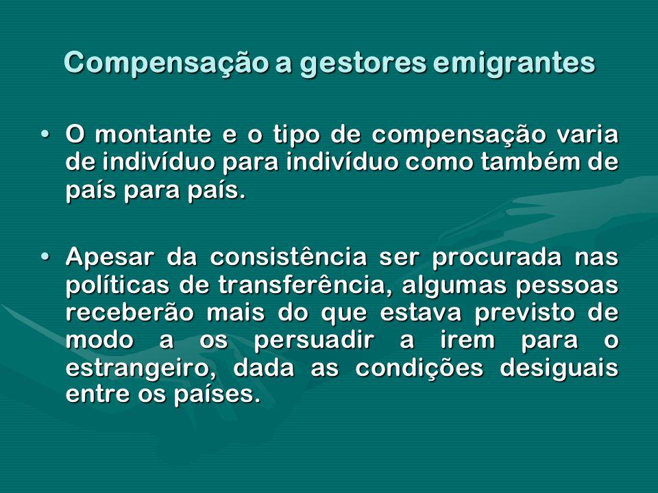 Compensação a gestores emigrantes O montante e o tipo de compensação varia de indivíduo para indivíduo como também de país para país.O montante e o ti