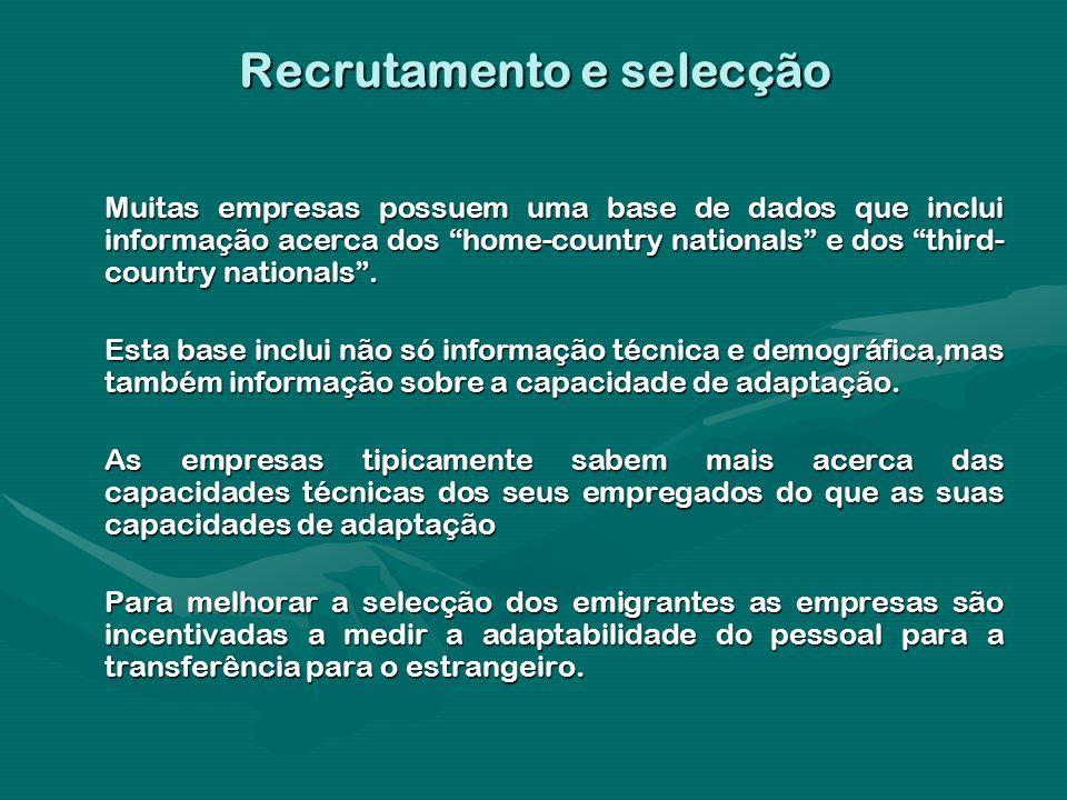 Recrutamento e selecção Muitas empresas possuem uma base de dados que inclui informação acerca dos home-country nationals e dos third- country nationa