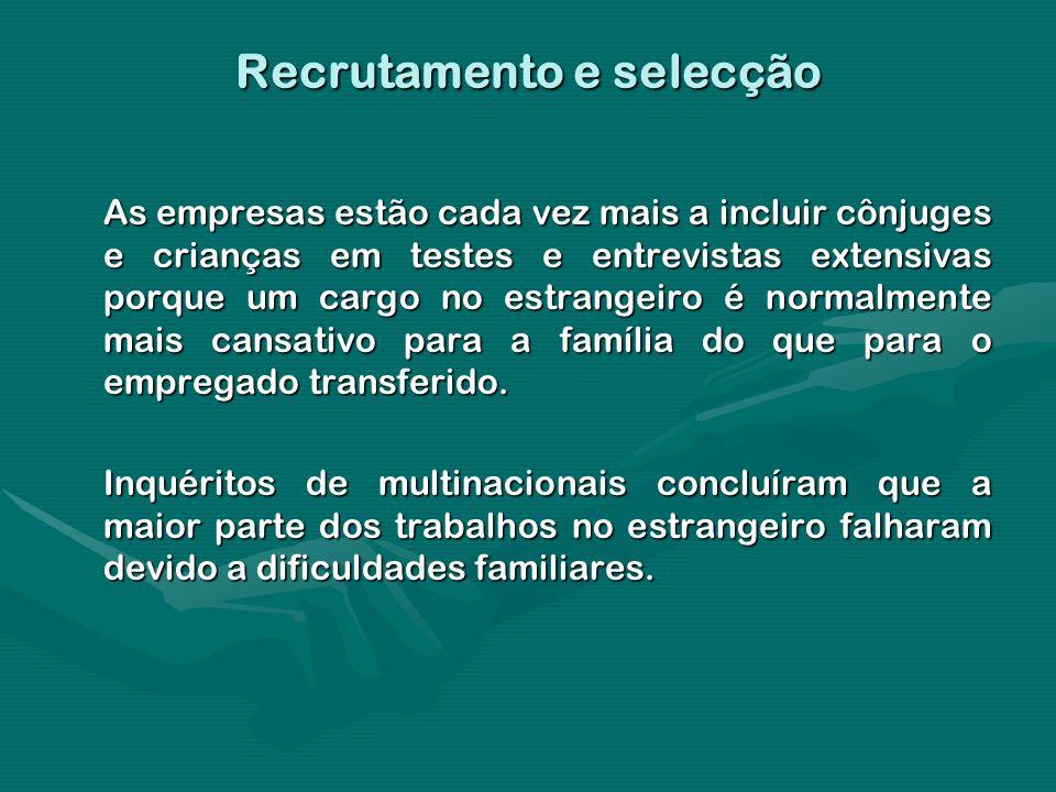 Recrutamento e selecção As empresas estão cada vez mais a incluir cônjuges e crianças em testes e entrevistas extensivas porque um cargo no estrangeir