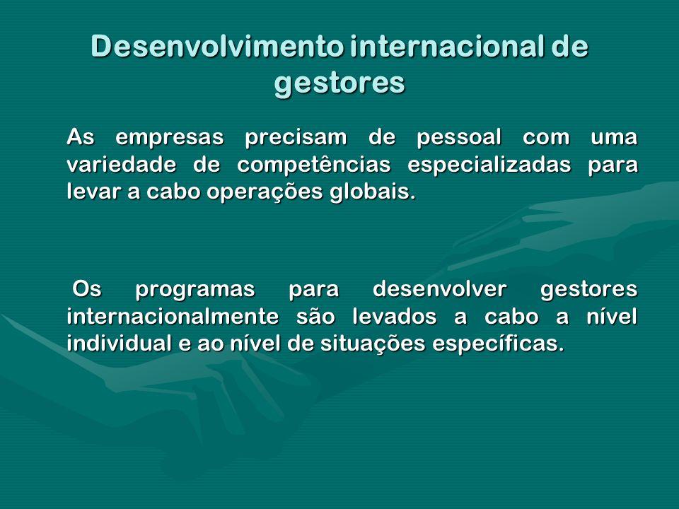 Desenvolvimento internacional de gestores As empresas precisam de pessoal com uma variedade de competências especializadas para levar a cabo operações