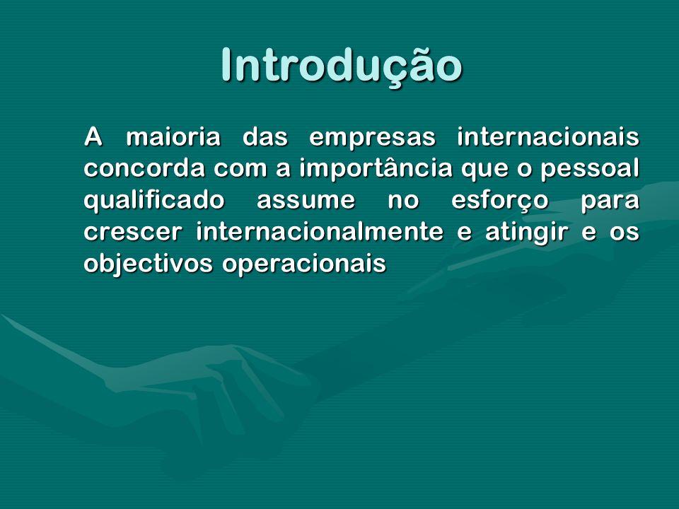 Introdução Amaioria das empresas internacionais concorda com a importância que o pessoal qualificado assume no esforço para crescer internacionalmente