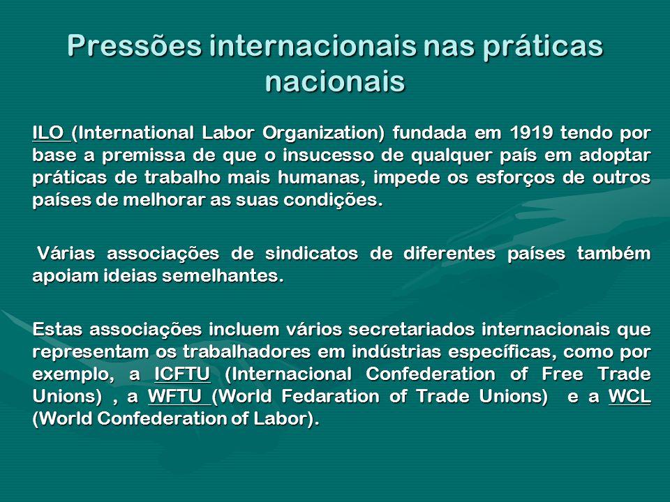 Pressões internacionais nas práticas nacionais ILO (International Labor Organization) fundada em 1919 tendo por base a premissa de que o insucesso de