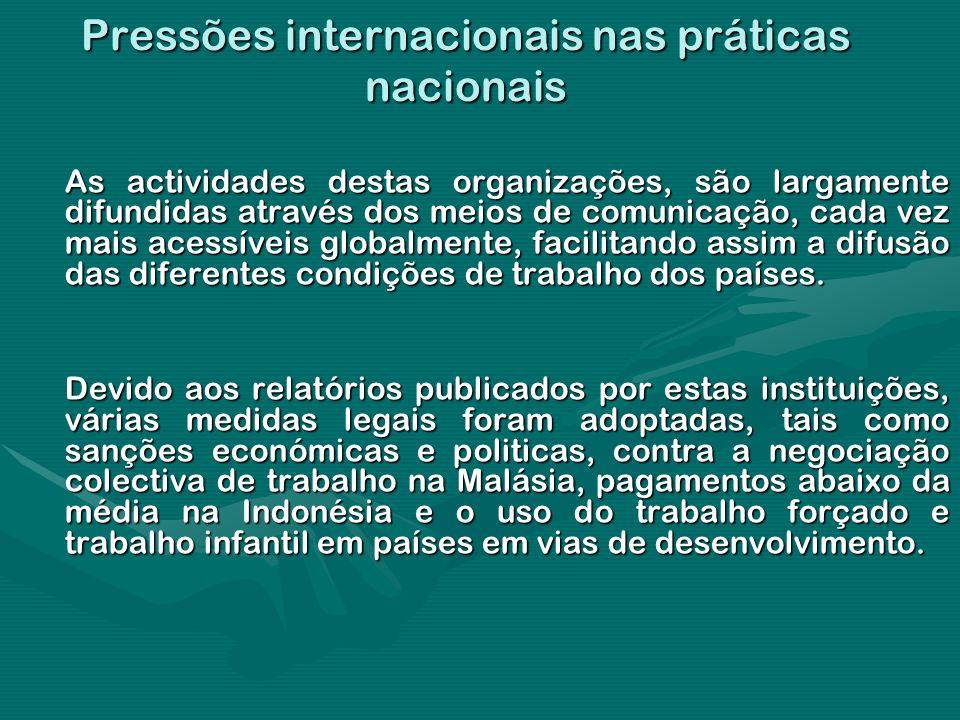 Pressões internacionais nas práticas nacionais As actividades destas organizações, são largamente difundidas através dos meios de comunicação, cada ve