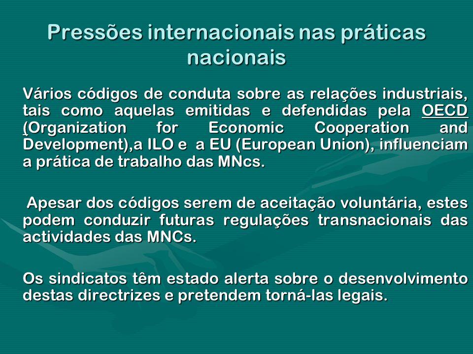 Pressões internacionais nas práticas nacionais Vários códigos de conduta sobre as relações industriais, tais como aquelas emitidas e defendidas pela O