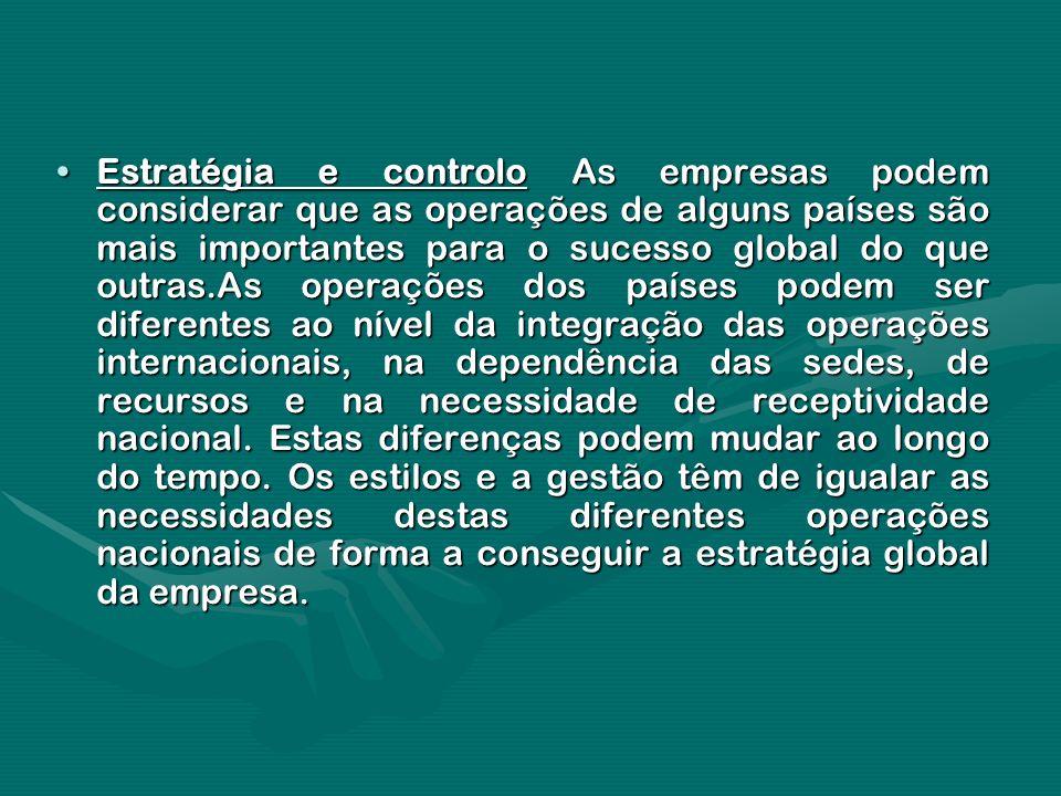 Estratégia e controlo As empresas podem considerar que as operações de alguns países são mais importantes para o sucesso global do que outras.As opera