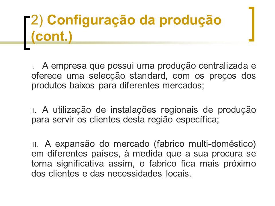 2) Configuração da produção (cont.) I. A empresa que possui uma produção centralizada e oferece uma selecção standard, com os preços dos produtos baix
