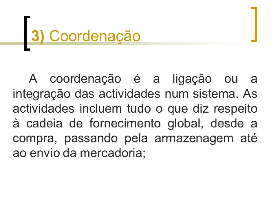 3) Coordenação A coordenação é a ligação ou a integração das actividades num sistema. As actividades incluem tudo o que diz respeito à cadeia de forne