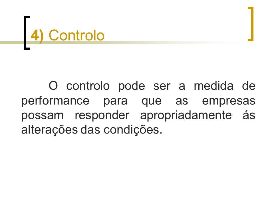 O controlo pode ser a medida de performance para que as empresas possam responder apropriadamente ás alterações das condições. 4) Controlo