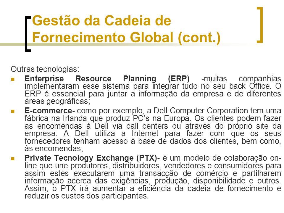Gestão da Cadeia de Fornecimento Global (cont.) Outras tecnologias: Enterprise Resource Planning (ERP) -muitas companhias implementaram esse sistema p