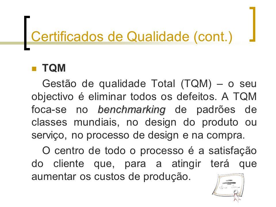 Certificados de Qualidade (cont.) TQM benchmarking Gestão de qualidade Total (TQM) – o seu objectivo é eliminar todos os defeitos. A TQM foca-se no be