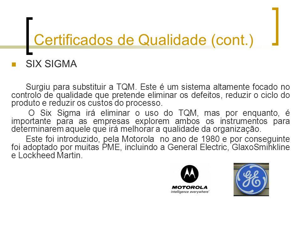 Certificados de Qualidade (cont.) SIX SIGMA Surgiu para substituir a TQM. Este é um sistema altamente focado no controlo de qualidade que pretende eli