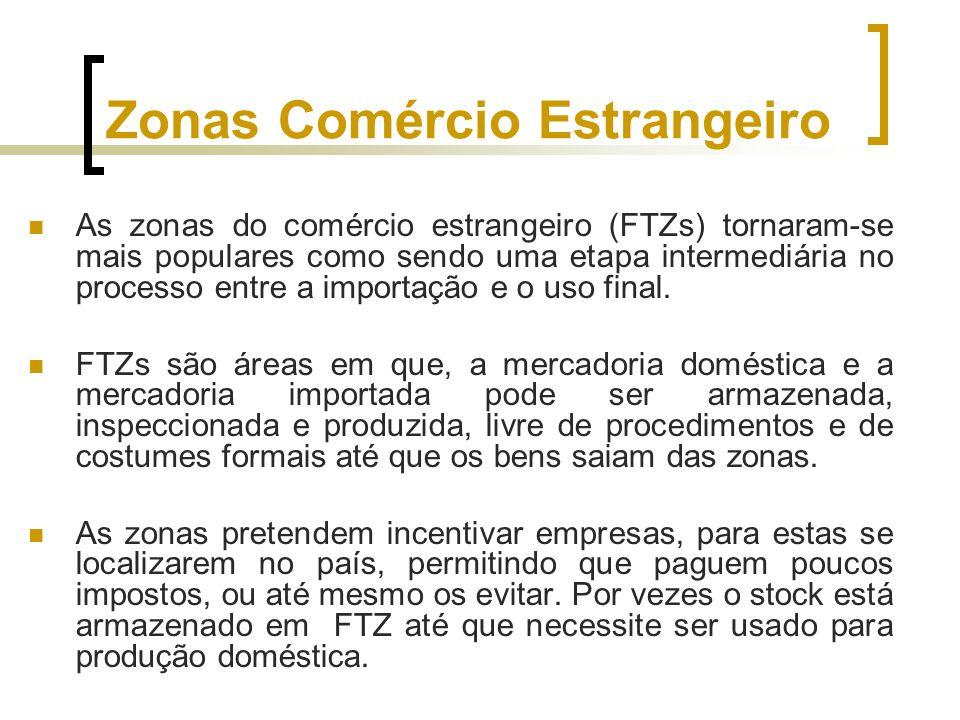 Zonas Comércio Estrangeiro As zonas do comércio estrangeiro (FTZs) tornaram-se mais populares como sendo uma etapa intermediária no processo entre a i