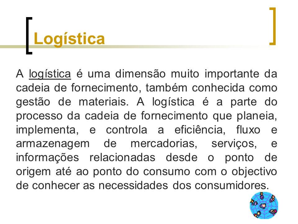 Logística A logística é uma dimensão muito importante da cadeia de fornecimento, também conhecida como gestão de materiais. A logística é a parte do p