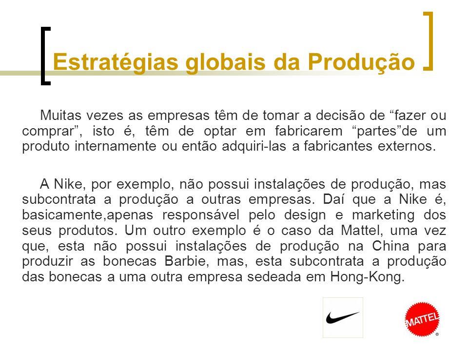 Estratégias globais da Produção (cont.) 1) Compatibilidade 2) Configuração 3) Coordenação 4) Controlo O sucesso das estratégias globais de produção depende de quatro factores: