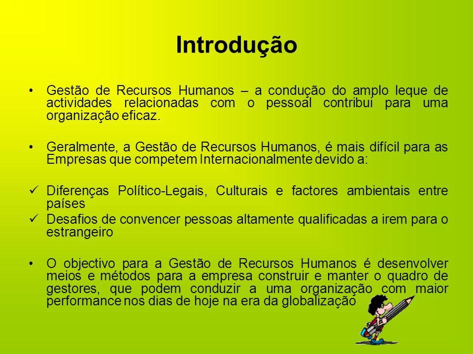 Introdução Gestão de Recursos Humanos – a condução do amplo leque de actividades relacionadas com o pessoal contribui para uma organização eficaz. Ger
