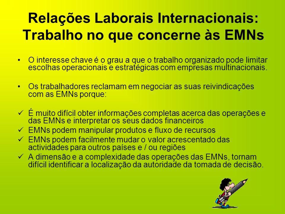 Relações Laborais Internacionais: Trabalho no que concerne às EMNs O interesse chave é o grau a que o trabalho organizado pode limitar escolhas operac