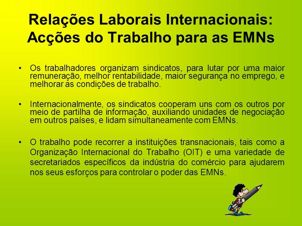 Relações Laborais Internacionais: Acções do Trabalho para as EMNs Os trabalhadores organizam sindicatos, para lutar por uma maior remuneração, melhor