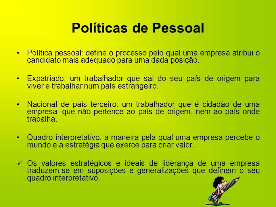 Políticas de Pessoal Política pessoal: define o processo pelo qual uma empresa atribui o candidato mais adequado para uma dada posição. Expatriado: um