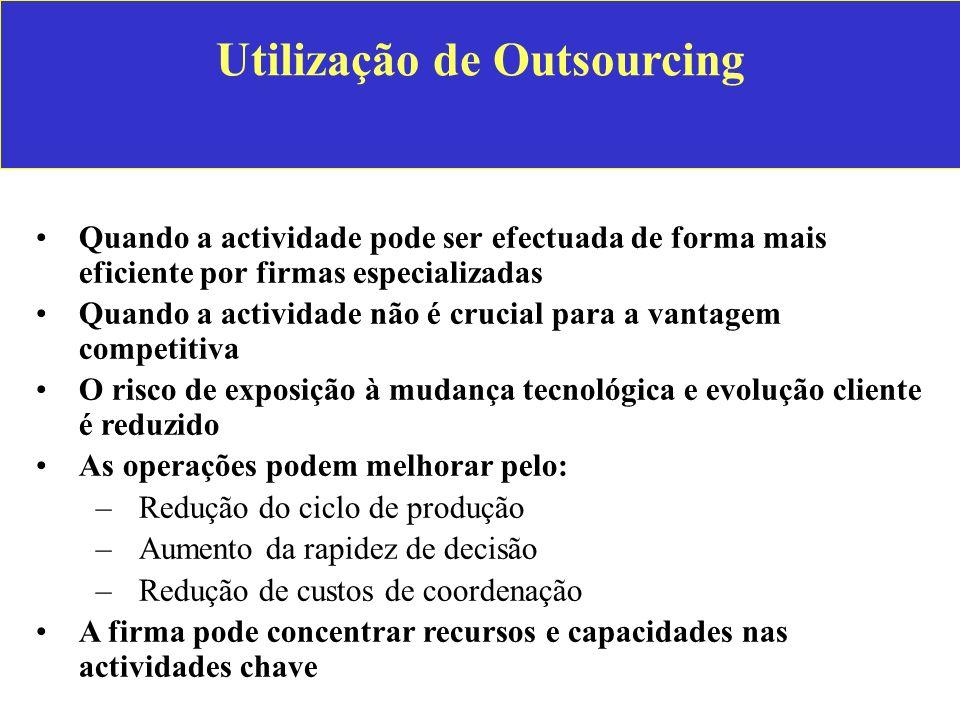 Utilização de Outsourcing Quando a actividade pode ser efectuada de forma mais eficiente por firmas especializadas Quando a actividade não é crucial p