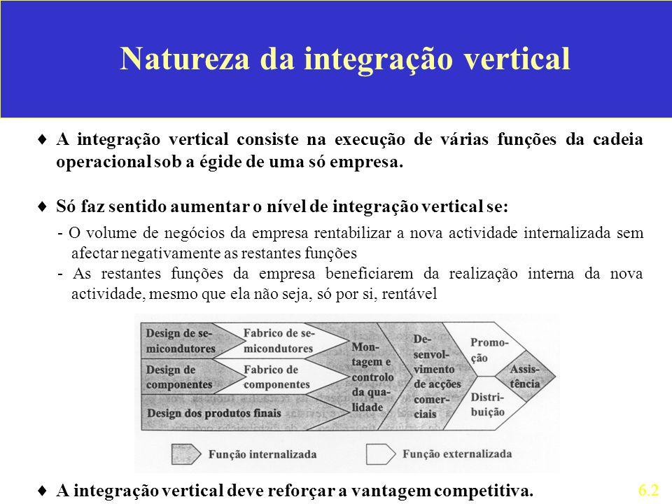 Natureza da integração vertical A integração vertical consiste na execução de várias funções da cadeia operacional sob a égide de uma só empresa. Só f