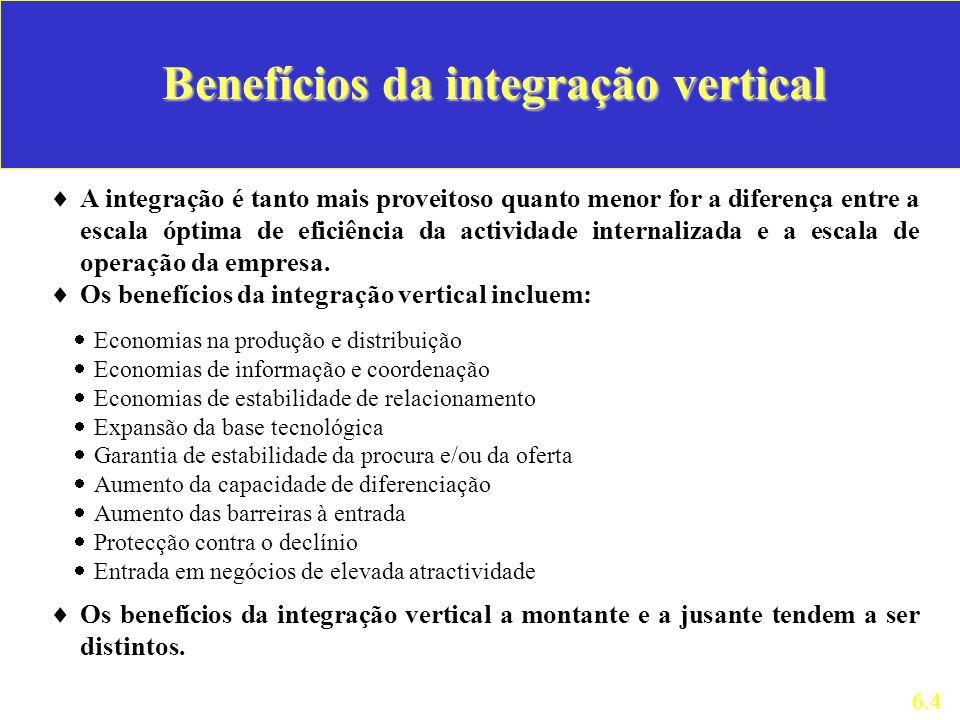 A integração é tanto mais proveitoso quanto menor for a diferença entre a escala óptima de eficiência da actividade internalizada e a escala de operaç