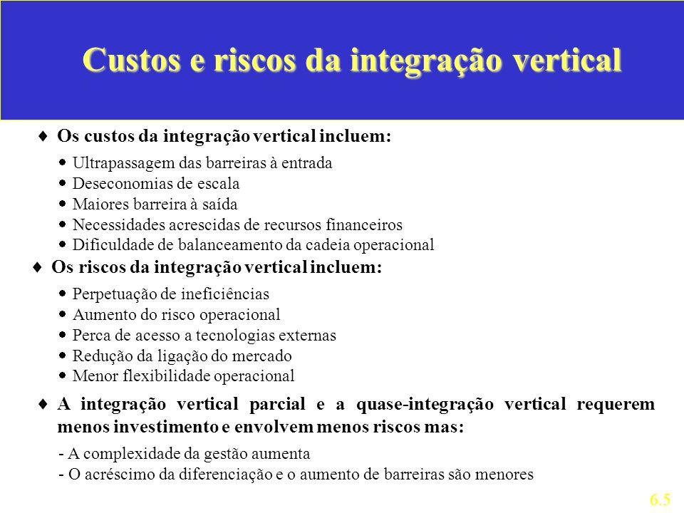 Os custos da integração vertical incluem: 6.5 Custos e riscos da integração vertical Ultrapassagem das barreiras à entrada Deseconomias de escala Maio