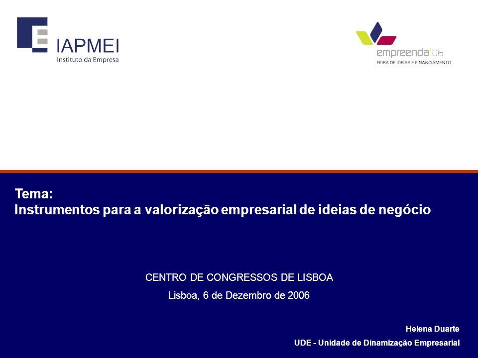 Helena Duarte UDE - Unidade de Dinamização Empresarial Tema: Instrumentos para a valorização empresarial de ideias de negócio CENTRO DE CONGRESSOS DE