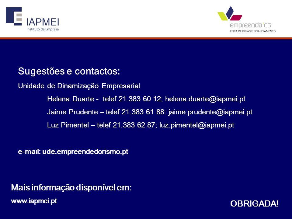 Sugestões e contactos: Unidade de Dinamização Empresarial Helena Duarte - telef 21.383 60 12; helena.duarte@iapmei.pt Jaime Prudente – telef 21.383 61