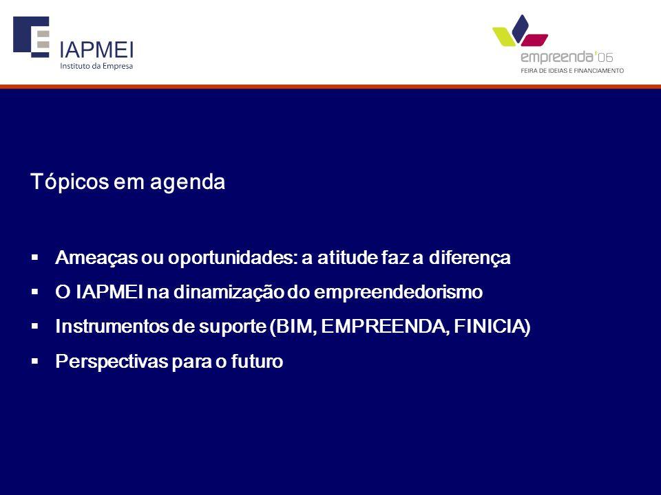 Tópicos em agenda Ameaças ou oportunidades: a atitude faz a diferença O IAPMEI na dinamização do empreendedorismo Instrumentos de suporte (BIM, EMPREE