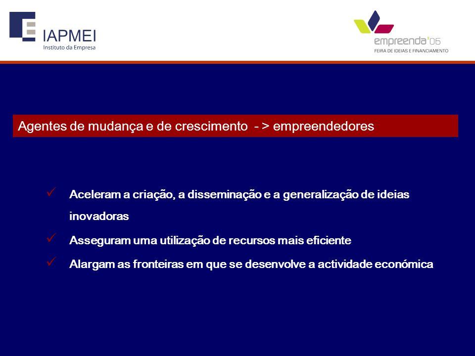 Agentes de mudança e de crescimento - > empreendedores Aceleram a criação, a disseminação e a generalização de ideias inovadoras Asseguram uma utiliza