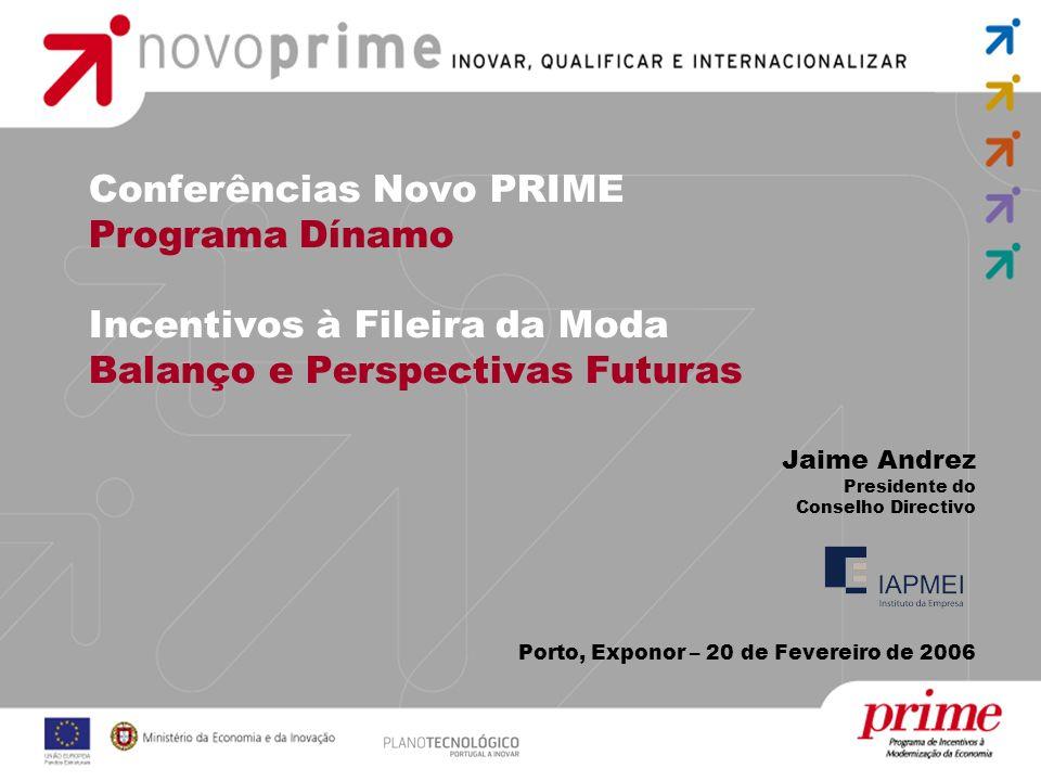Conferências Novo PRIME Programa Dínamo Incentivos à Fileira da Moda Balanço e Perspectivas Futuras Jaime Andrez Presidente do Conselho Directivo Port