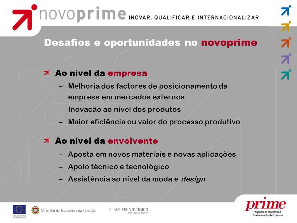 Desafios e oportunidades no novoprime Ao nível da empresa –Melhoria dos factores de posicionamento da empresa em mercados externos –Inovação ao nível
