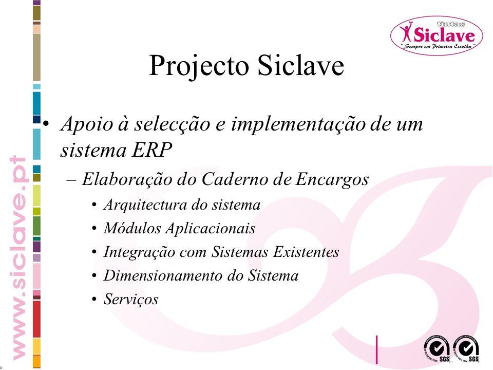 Projecto Siclave Apoio à selecção e implementação de um sistema ERP –Elaboração do Caderno de Encargos Arquitectura do sistema Módulos Aplicacionais I