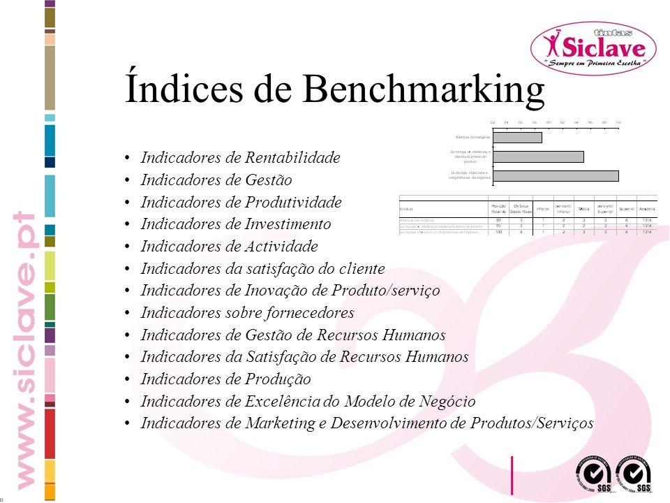 Índices de Benchmarking Indicadores de Rentabilidade Indicadores de Gestão Indicadores de Produtividade Indicadores de Investimento Indicadores de Act