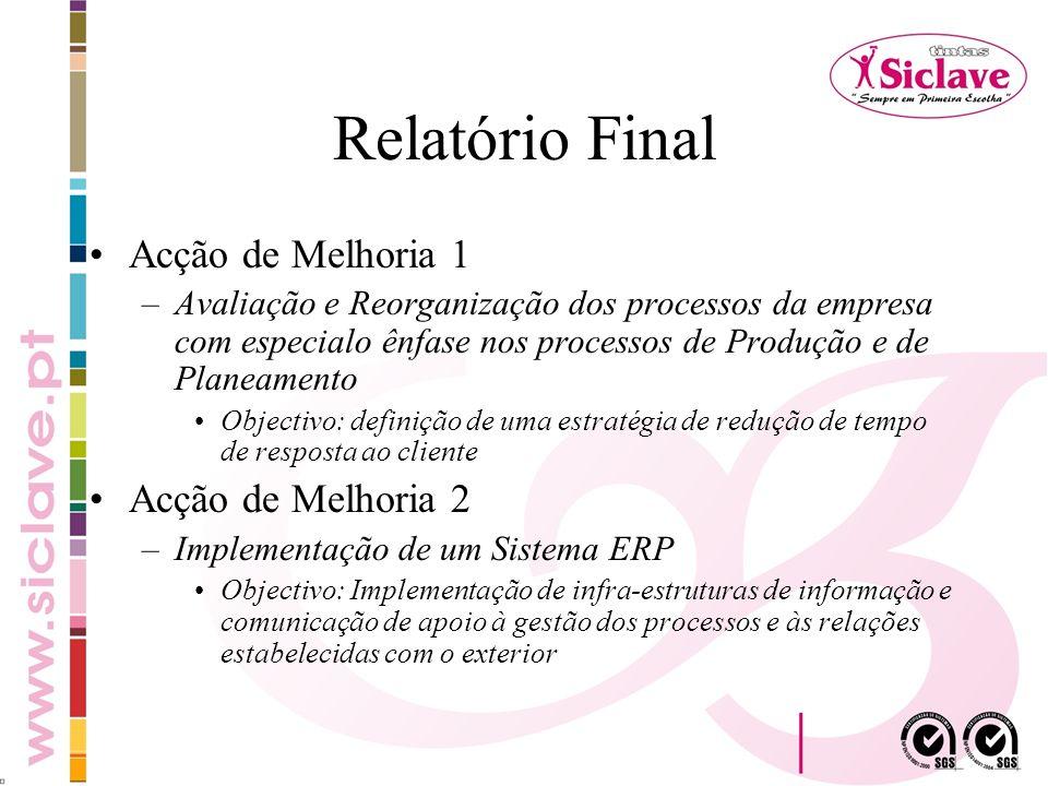 Relatório Final Acção de Melhoria 1 –Avaliação e Reorganização dos processos da empresa com especialo ênfase nos processos de Produção e de Planeament
