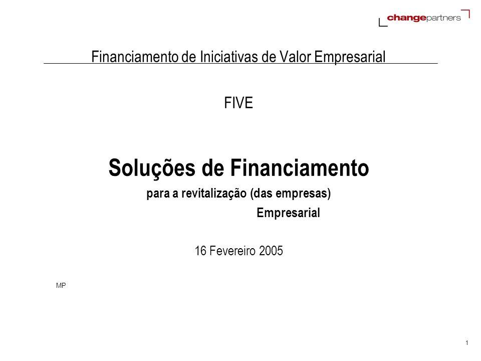 1 Financiamento de Iniciativas de Valor Empresarial FIVE Soluções de Financiamento para a revitalização (das empresas) Empresarial 16 Fevereiro 2005 M