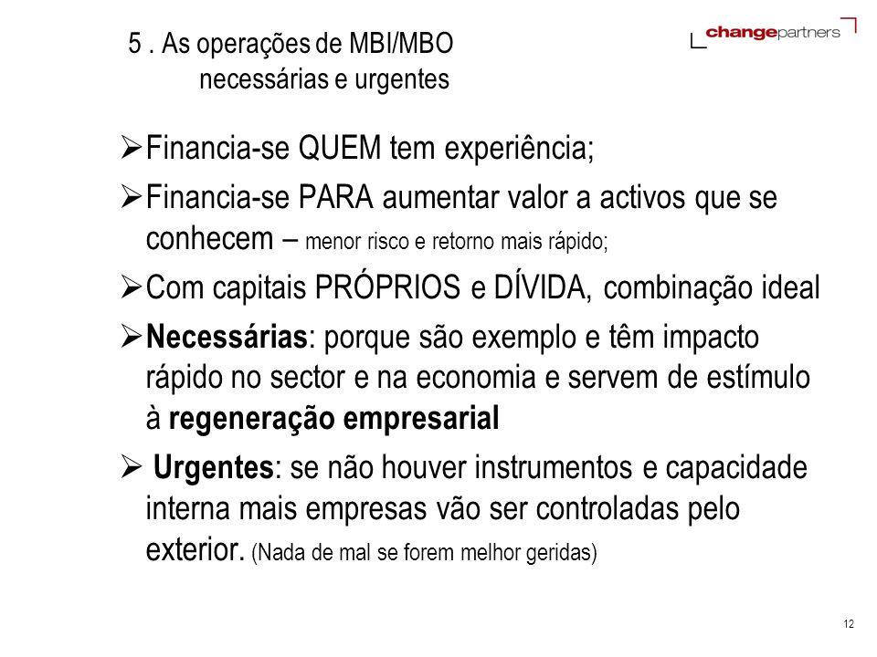 12 5. As operações de MBI/MBO necessárias e urgentes Financia-se QUEM tem experiência; Financia-se PARA aumentar valor a activos que se conhecem – men