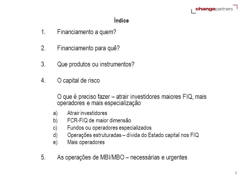 2 Índice 1.Financiamento a quem? 2.Financiamento para quê? 3.Que produtos ou instrumentos? 4.O capital de risco O que é preciso fazer – atrair investi