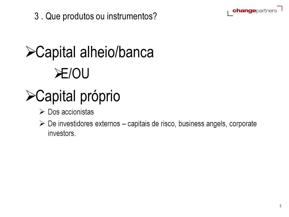 5 3. Que produtos ou instrumentos? Capital alheio/banca E/OU Capital próprio Dos accionistas De investidores externos – capitais de risco, business an